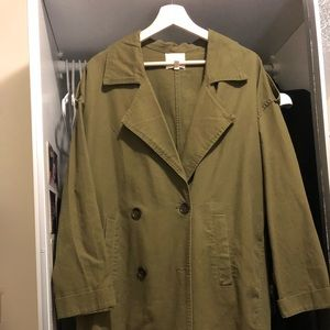 Oversized olive green trench coat from UO